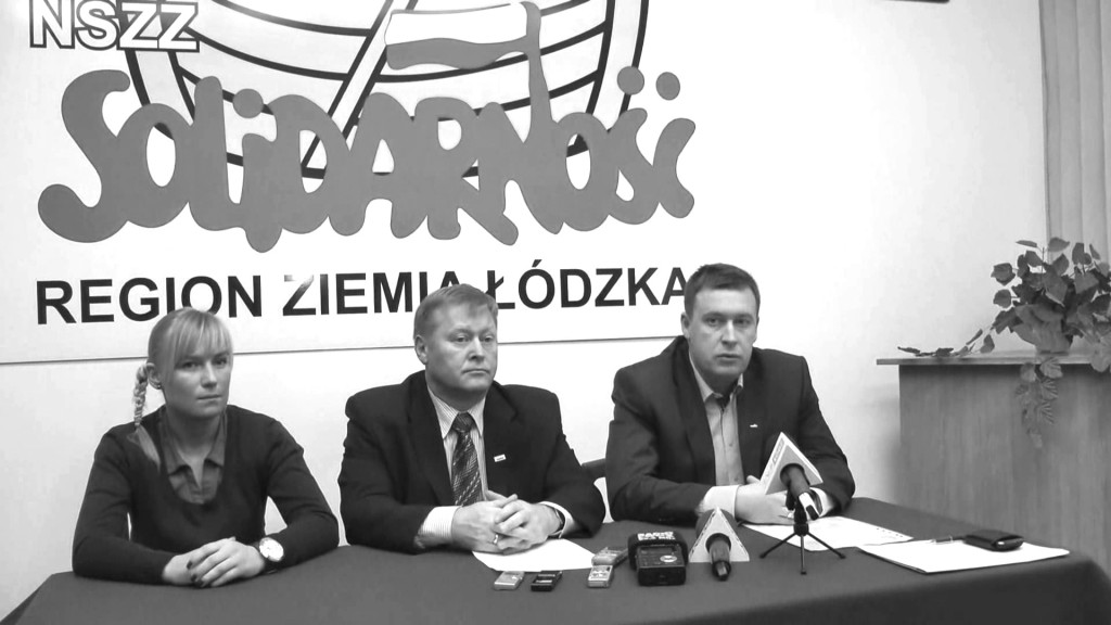 Lidl-Pressekonferenz der Gewerkschaft Solidarnosc im Januar 2014