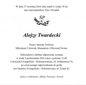 Alojzy Twardecki, cala Polska, 01.10.2016 - nekrolog